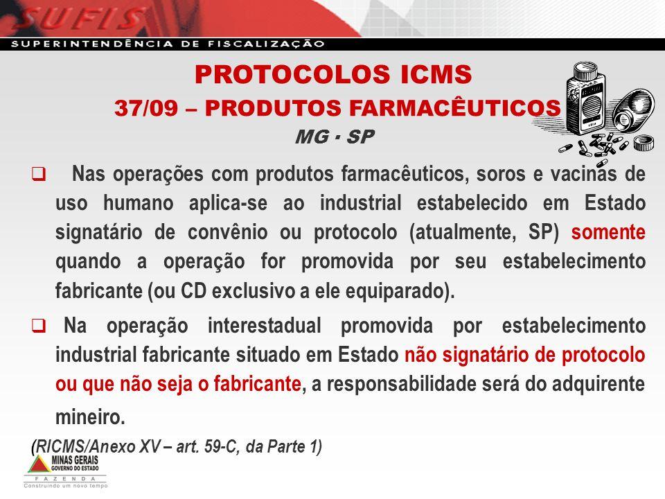 Nas operações com produtos farmacêuticos, soros e vacinas de uso humano aplica-se ao industrial estabelecido em Estado signatário de convênio ou proto