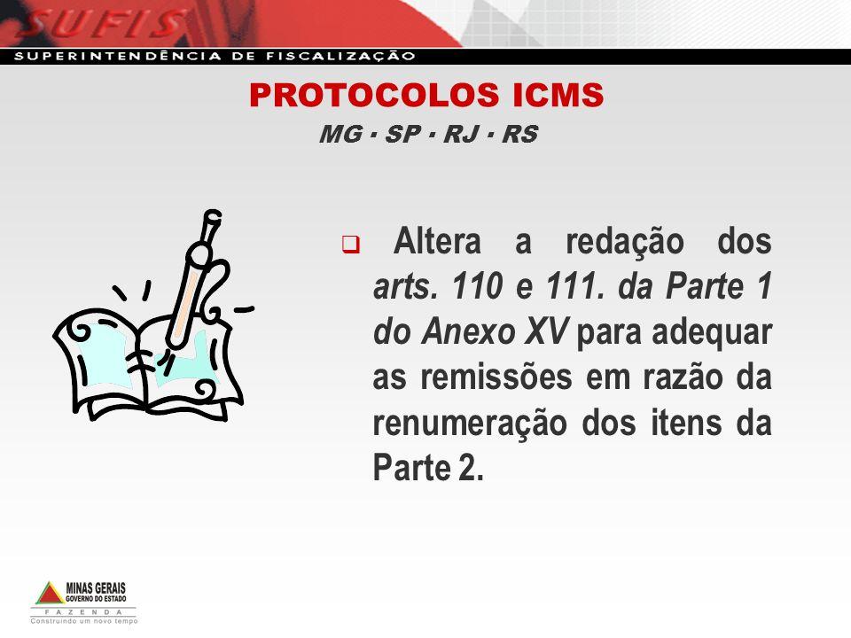 Altera a redação dos arts. 110 e 111. da Parte 1 do Anexo XV para adequar as remissões em razão da renumeração dos itens da Parte 2. PROTOCOLOS ICMS M