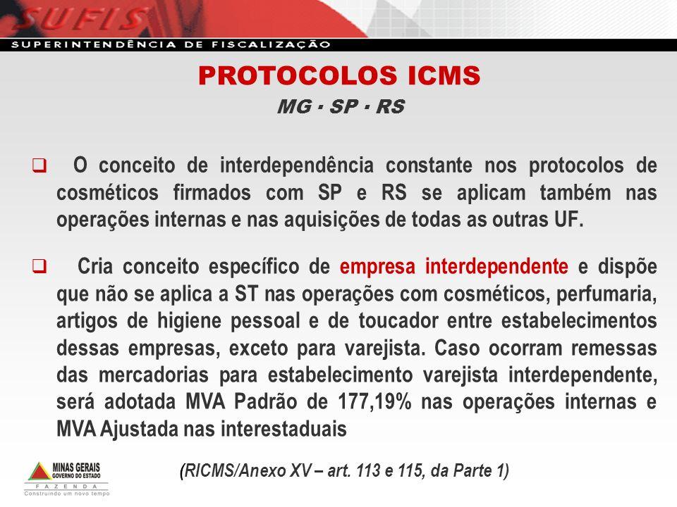 O conceito de interdependência constante nos protocolos de cosméticos firmados com SP e RS se aplicam também nas operações internas e nas aquisições d