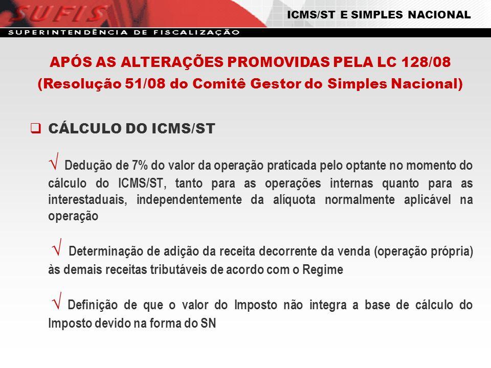 APÓS AS ALTERAÇÕES PROMOVIDAS PELA LC 128/08 (Resolução 51/08 do Comitê Gestor do Simples Nacional) CÁLCULO DO ICMS/ST Dedução de 7% do valor da opera