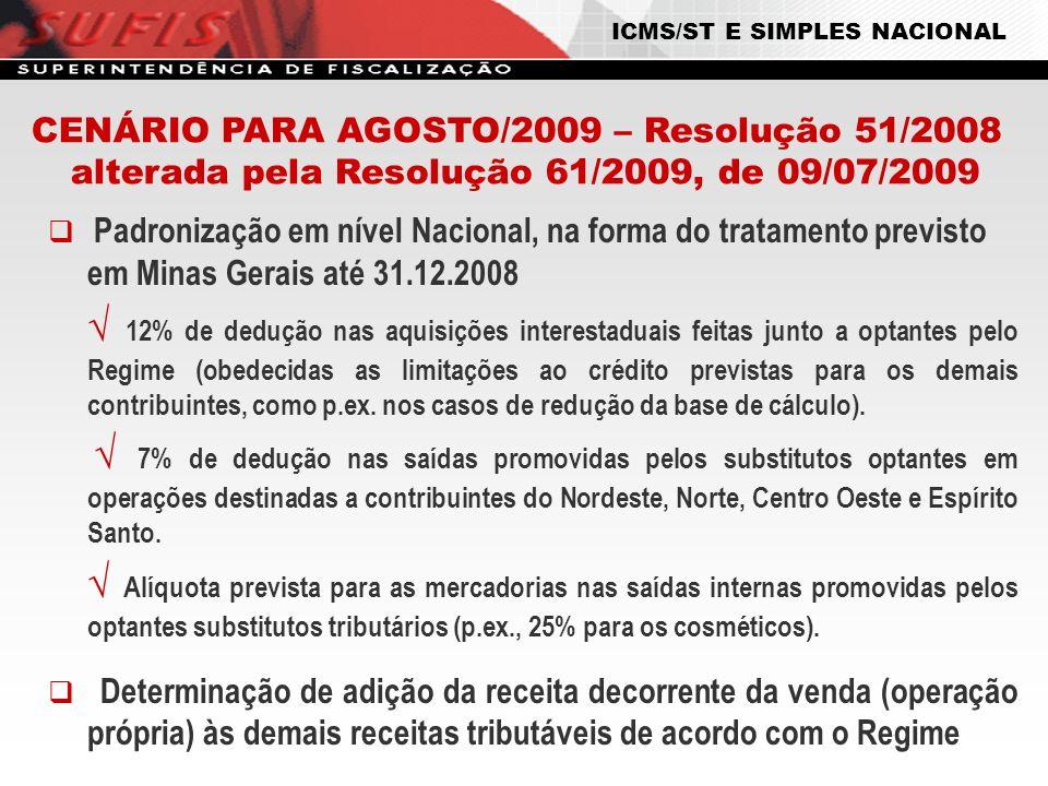 CENÁRIO PARA AGOSTO/2009 – Resolução 51/2008 alterada pela Resolução 61/2009, de 09/07/2009 Padronização em nível Nacional, na forma do tratamento pre