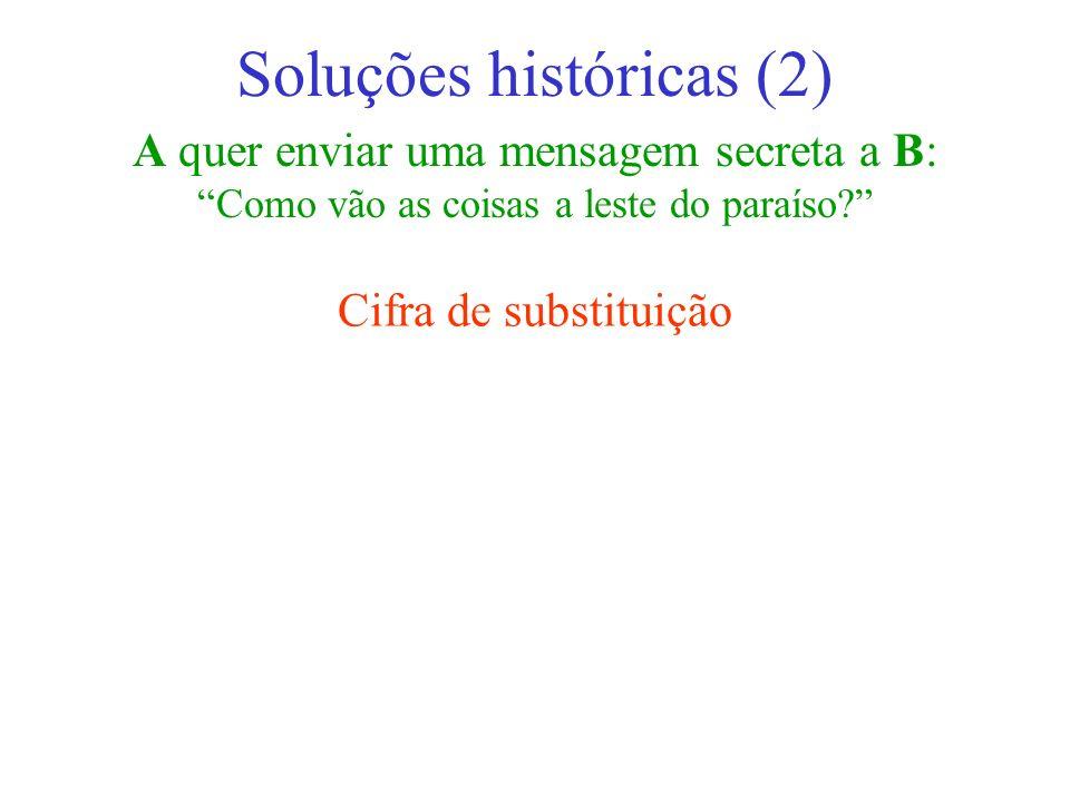 A quer enviar uma mensagem secreta a B: Como vão as coisas a leste do paraíso? Soluções históricas (2) Cifra de substituição