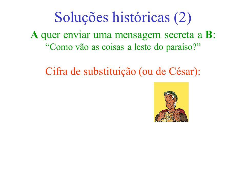 A quer enviar uma mensagem secreta a B: Como vão as coisas a leste do paraíso? Soluções históricas (2) Cifra de substituição (ou de César):