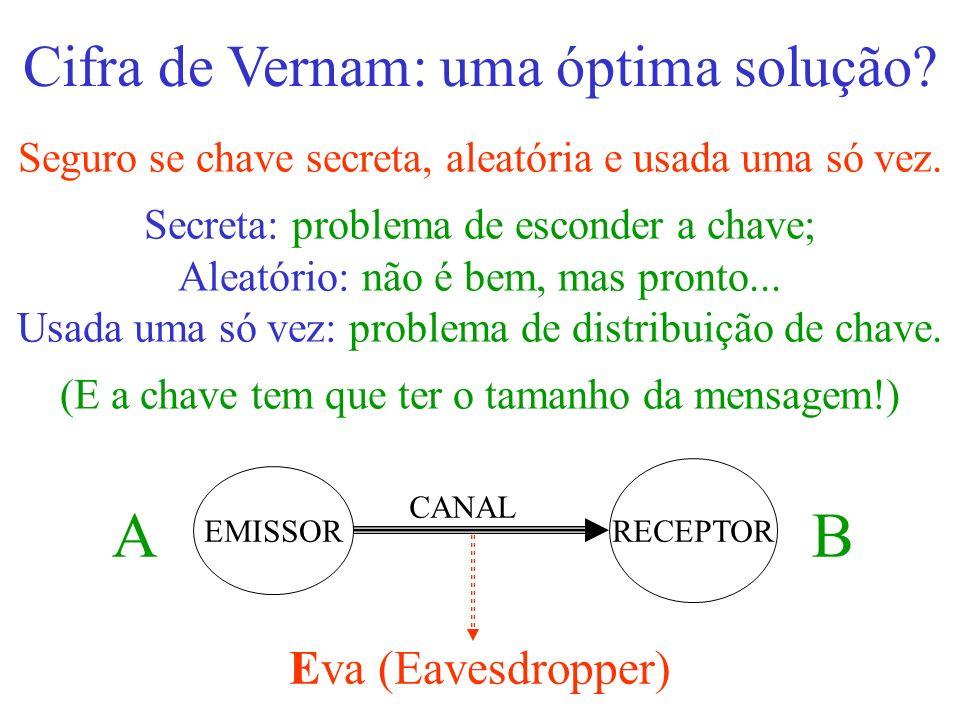 Cifra de Vernam: uma óptima solução? Seguro se chave secreta, aleatória e usada uma só vez. Secreta: problema de esconder a chave; Aleatório: não é be