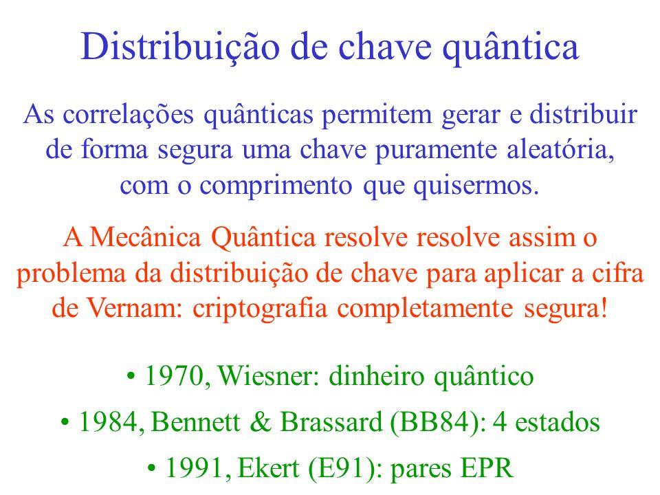 Distribuição de chave quântica As correlações quânticas permitem gerar e distribuir de forma segura uma chave puramente aleatória, com o comprimento q