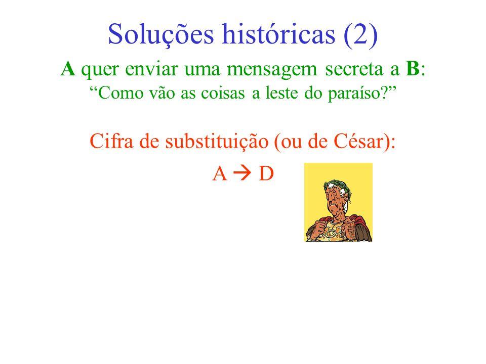 A quer enviar uma mensagem secreta a B: Como vão as coisas a leste do paraíso? Soluções históricas (2) Cifra de substituição (ou de César): A D