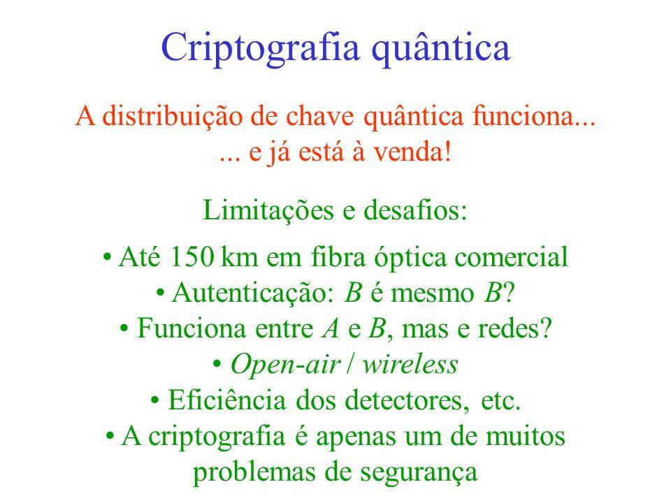 Criptografia quântica A distribuição de chave quântica funciona...... e já está à venda! Limitações e desafios: Até 150 km em fibra óptica comercial A