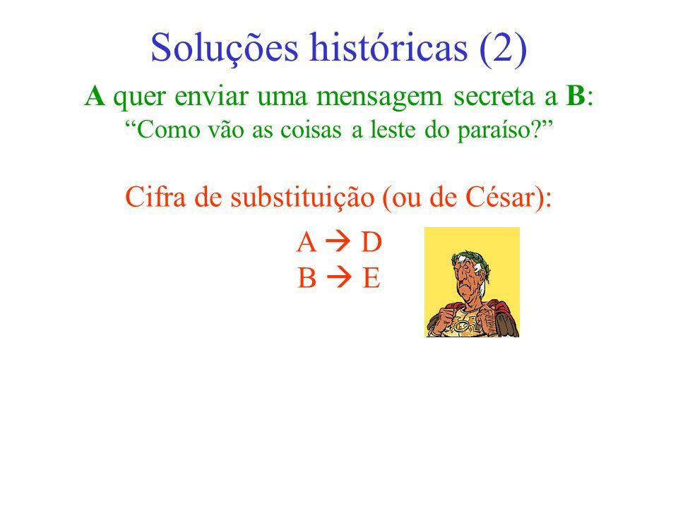 A quer enviar uma mensagem secreta a B: Como vão as coisas a leste do paraíso? Soluções históricas (2) Cifra de substituição (ou de César): A D B E