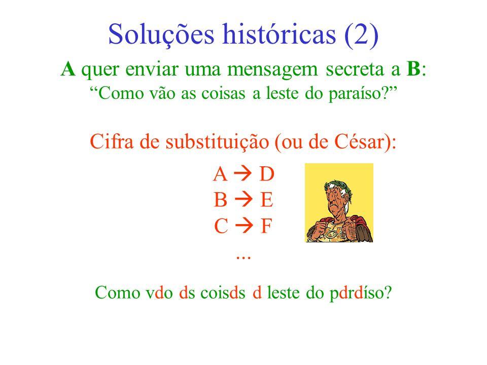 A quer enviar uma mensagem secreta a B: Como vão as coisas a leste do paraíso? Soluções históricas (2) Cifra de substituição (ou de César): A D B E C