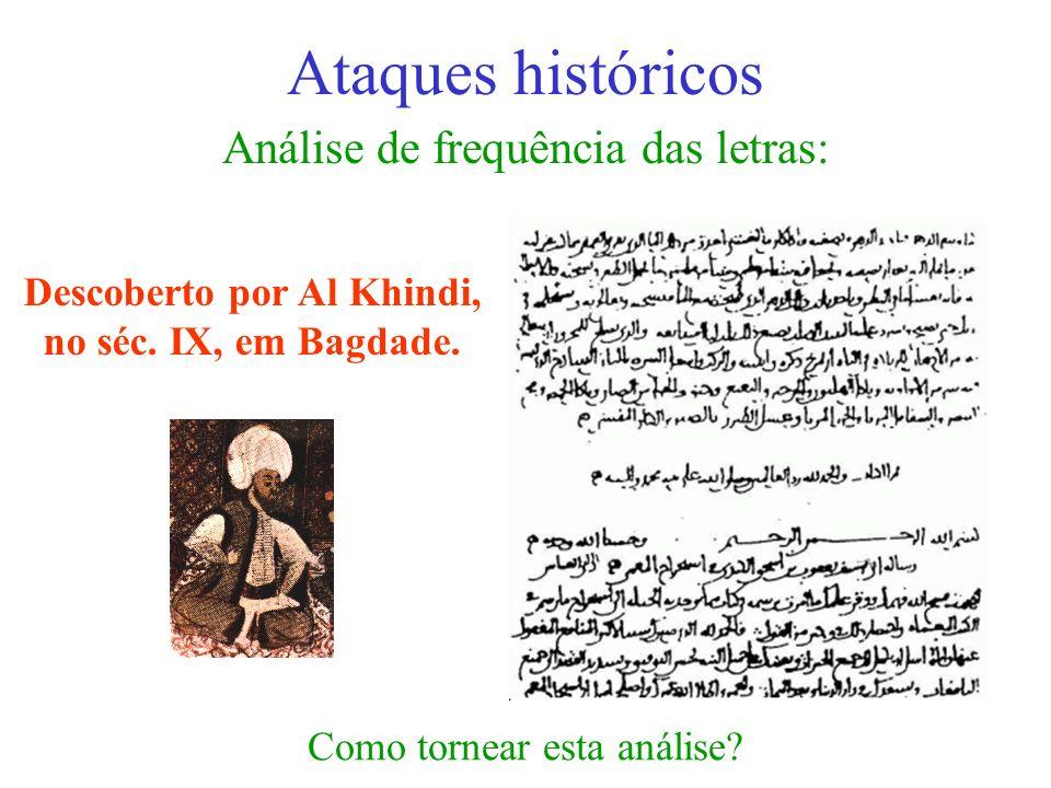 Análise de frequência das letras: Ataques históricos Descoberto por Al Khindi, no séc. IX, em Bagdade. Como tornear esta análise?