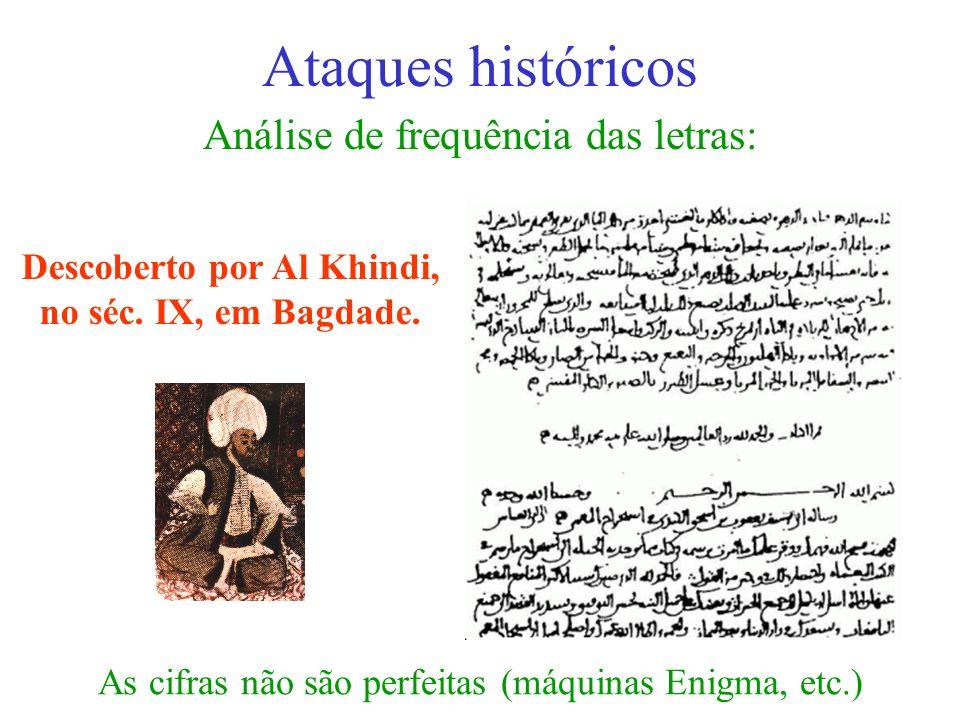 Análise de frequência das letras: Ataques históricos Descoberto por Al Khindi, no séc. IX, em Bagdade. As cifras não são perfeitas (máquinas Enigma, e