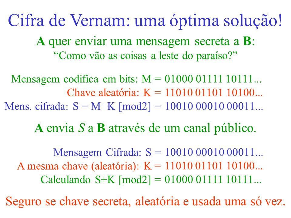 A quer enviar uma mensagem secreta a B: Como vão as coisas a leste do paraíso? Cifra de Vernam: uma óptima solução! 01000 01111 10111... 11010 01101 1