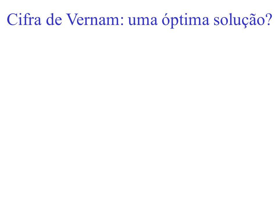 Cifra de Vernam: uma óptima solução?