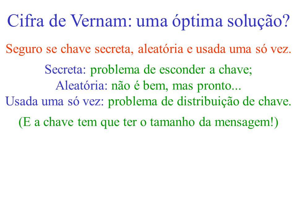 Cifra de Vernam: uma óptima solução? Seguro se chave secreta, aleatória e usada uma só vez. Secreta: problema de esconder a chave; Aleatória: não é be