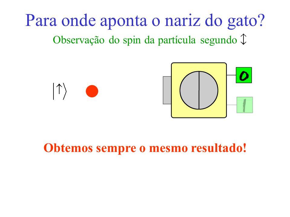 Para onde aponta o nariz do gato? Observação do spin da partícula segundo Obtemos sempre o mesmo resultado!