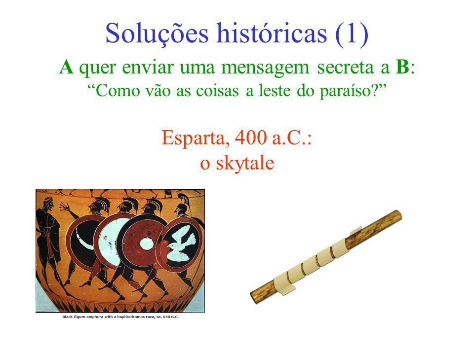 A quer enviar uma mensagem secreta a B: Como vão as coisas a leste do paraíso? Soluções históricas (1) Esparta, 400 a.C.: o skytale