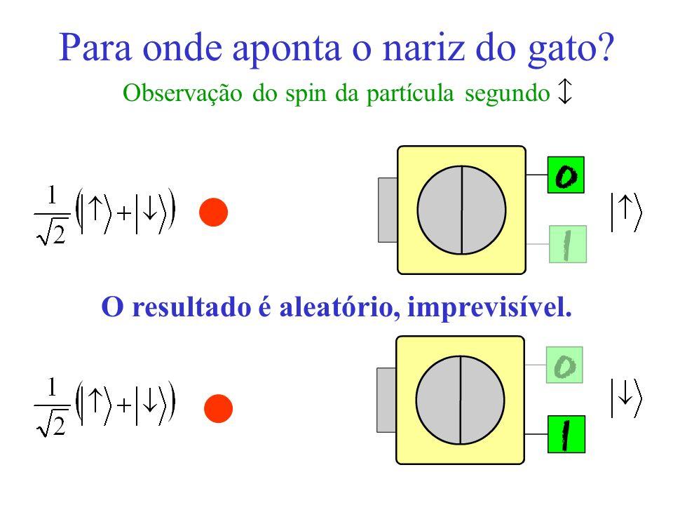 Para onde aponta o nariz do gato? Observação do spin da partícula segundo O resultado é aleatório, imprevisível.