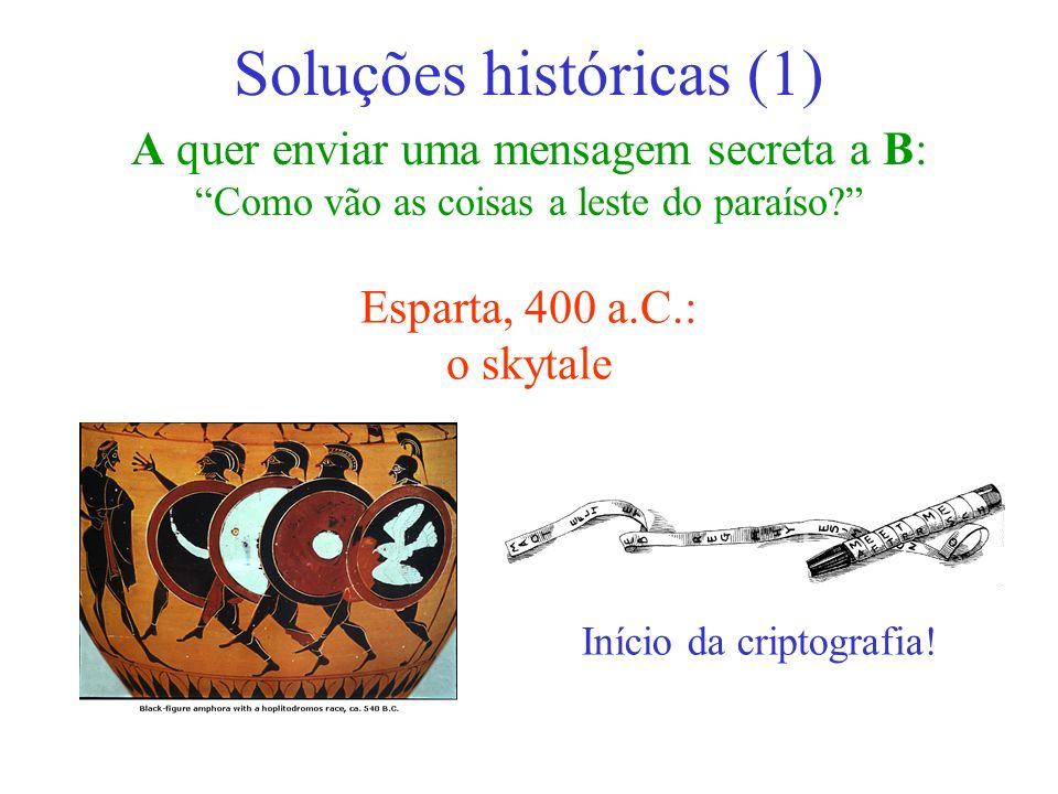 A quer enviar uma mensagem secreta a B: Como vão as coisas a leste do paraíso? Soluções históricas (1) Esparta, 400 a.C.: o skytale Início da criptogr