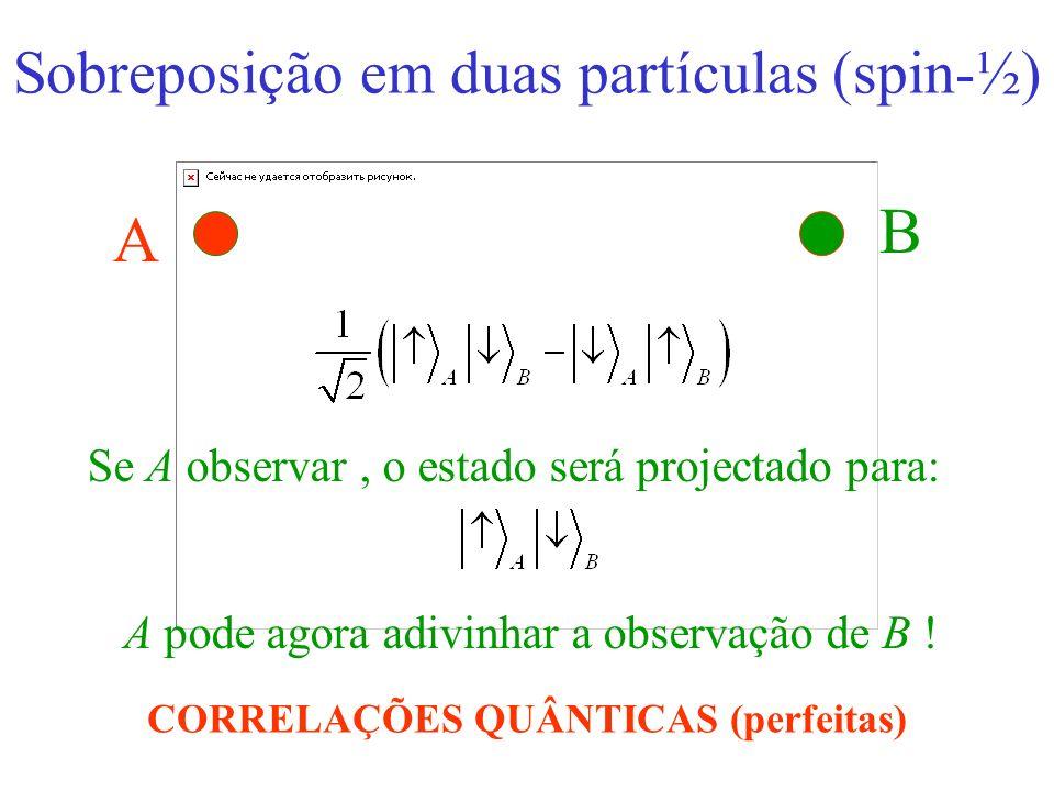 A B Se A observar o estado será projectado para: A pode agora adivinhar a observação de B ! CORRELAÇÕES QUÂNTICAS (perfeitas) Sobreposição em duas par