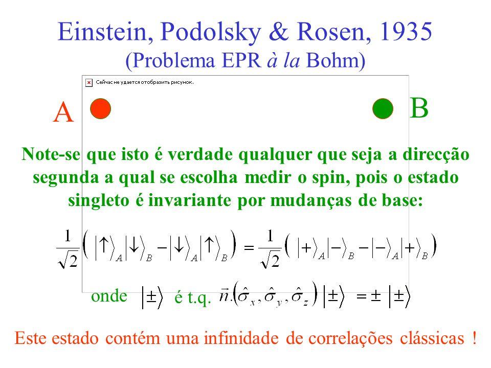 A B Note-se que isto é verdade qualquer que seja a direcção segunda a qual se escolha medir o spin, pois o estado singleto é invariante por mudanças d