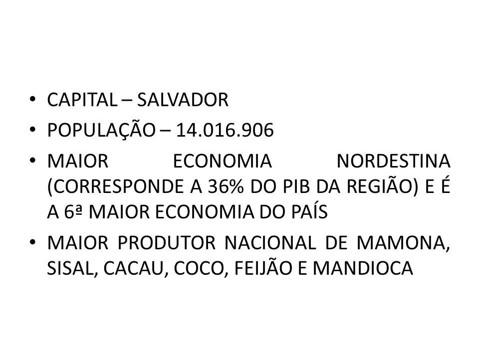 CAPITAL – SALVADOR POPULAÇÃO – 14.016.906 MAIOR ECONOMIA NORDESTINA (CORRESPONDE A 36% DO PIB DA REGIÃO) E É A 6ª MAIOR ECONOMIA DO PAÍS MAIOR PRODUTOR NACIONAL DE MAMONA, SISAL, CACAU, COCO, FEIJÃO E MANDIOCA