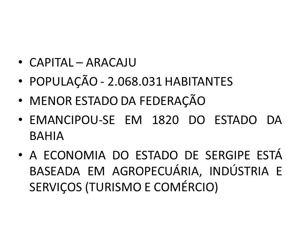 CAPITAL – ARACAJU POPULAÇÃO - 2.068.031 HABITANTES MENOR ESTADO DA FEDERAÇÃO EMANCIPOU-SE EM 1820 DO ESTADO DA BAHIA A ECONOMIA DO ESTADO DE SERGIPE ESTÁ BASEADA EM AGROPECUÁRIA, INDÚSTRIA E SERVIÇOS (TURISMO E COMÉRCIO)