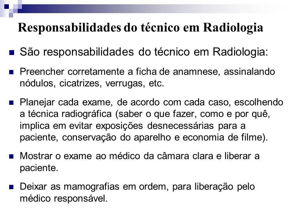 Responsabilidades do técnico em Radiologia São responsabilidades do técnico em Radiologia: Preencher corretamente a ficha de anamnese, assinalando nód