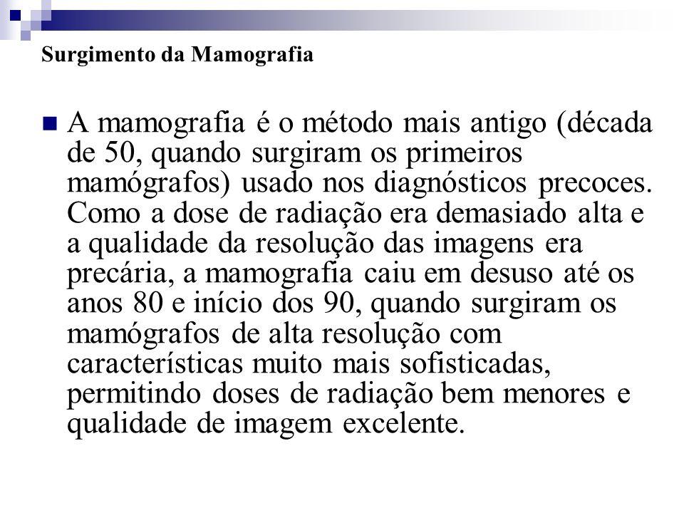 Surgimento da Mamografia A mamografia é o método mais antigo (década de 50, quando surgiram os primeiros mamógrafos) usado nos diagnósticos precoces.