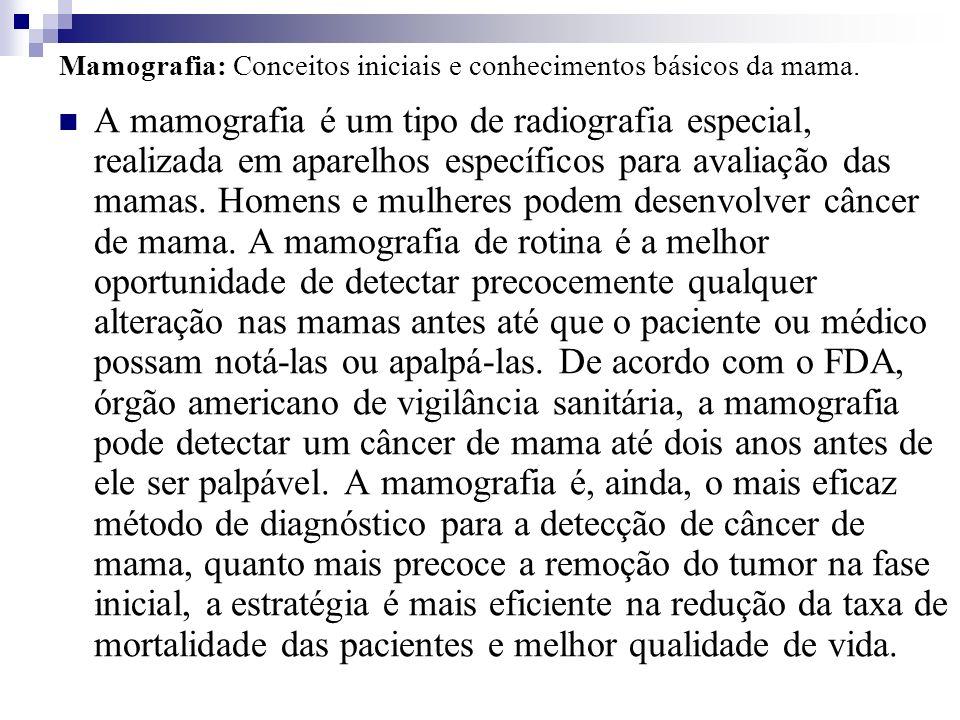 Mamografia: Conceitos iniciais e conhecimentos básicos da mama. A mamografia é um tipo de radiografia especial, realizada em aparelhos específicos par