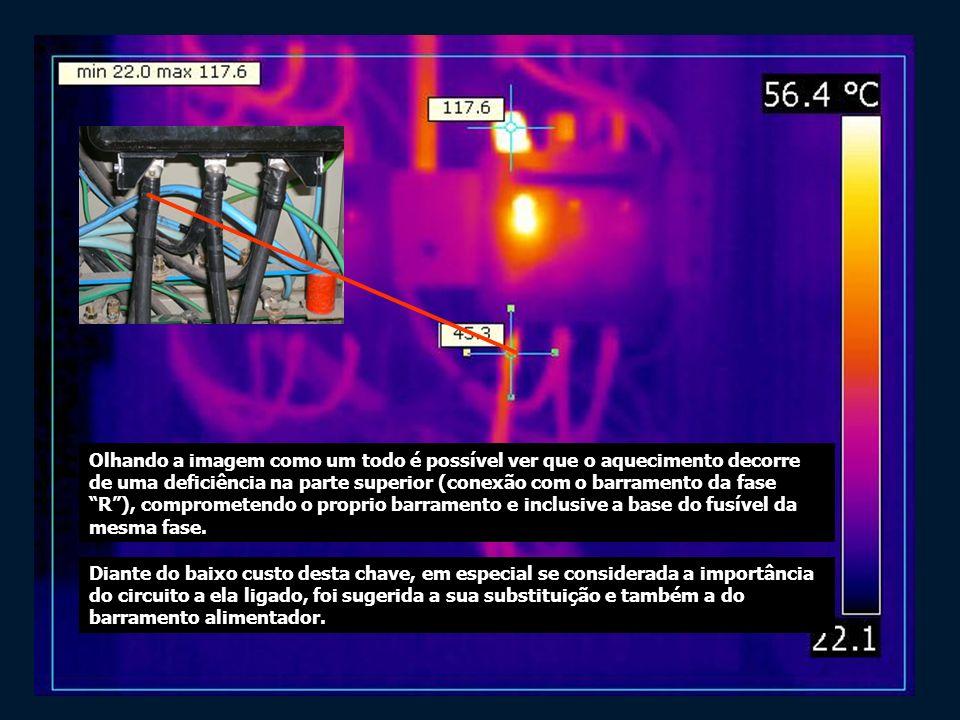 Olhando a imagem como um todo é possível ver que o aquecimento decorre de uma deficiência na parte superior (conexão com o barramento da fase R), comp