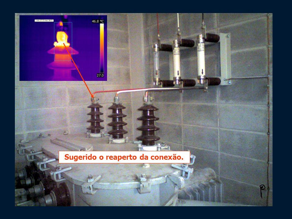 Buchas primárias Transformador de 300kVA 13.8kV – 220/127 V Anomalia térmica na fase R Sugerido o reaperto da conexão.