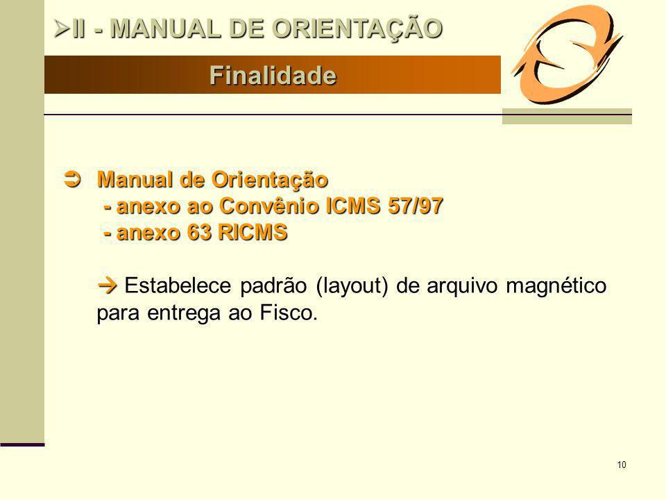 10 Finalidade II - MANUAL DE ORIENTAÇÃO II - MANUAL DE ORIENTAÇÃO Manual de Orientação Manual de Orientação - anexo ao Convênio ICMS 57/97 - anexo ao