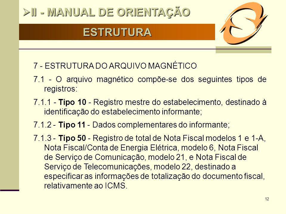 12 ESTRUTURA II - MANUAL DE ORIENTAÇÃO II - MANUAL DE ORIENTAÇÃO 7 - ESTRUTURA DO ARQUIVO MAGNÉTICO 7.1 - O arquivo magnético compõe-se dos seguintes