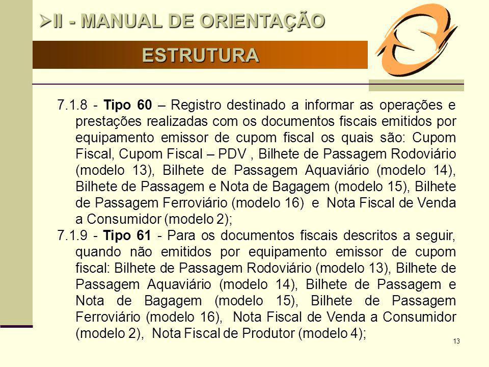 13 ESTRUTURA II - MANUAL DE ORIENTAÇÃO II - MANUAL DE ORIENTAÇÃO 7.1.8 - Tipo 60 – Registro destinado a informar as operações e prestações realizadas