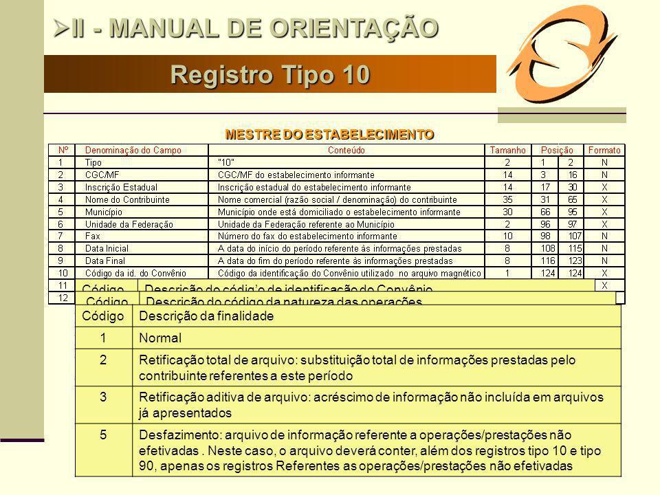 14 Registro Tipo 10 II - MANUAL DE ORIENTAÇÃO II - MANUAL DE ORIENTAÇÃO MESTRE DO ESTABELECIMENTO CódigoDescrição do código de identificação do Convên