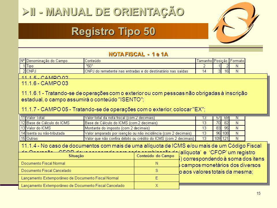 15 Registro Tipo 50 II - MANUAL DE ORIENTAÇÃO II - MANUAL DE ORIENTAÇÃO NOTA FISCAL - 1 e 1A 11.1.4 - No caso de documentos com mais de uma alíquota d