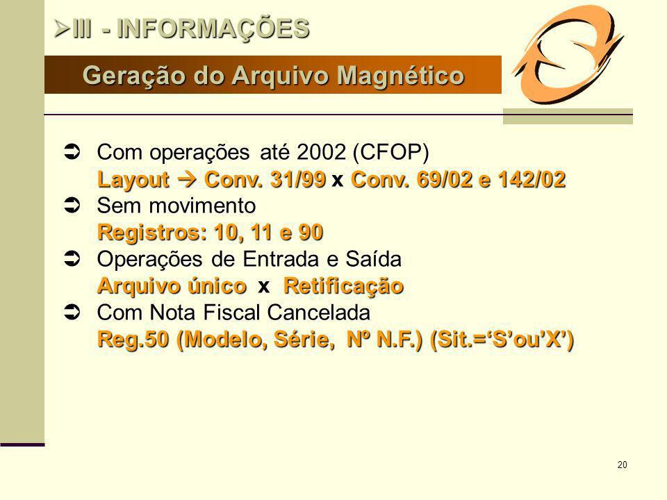 20 Geração do Arquivo Magnético III - INFORMAÇÕES III - INFORMAÇÕES Com operações até 2002 (CFOP) Com operações até 2002 (CFOP) Layout Conv. 31/99 x C