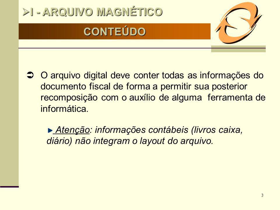 3 CONTEÚDO I - ARQUIVO MAGNÉTICO I - ARQUIVO MAGNÉTICO O O arquivo digital deve conter todas as informações do documento fiscal de forma a permitir su