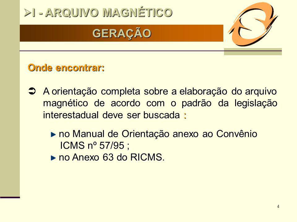 4 GERAÇÃO I - ARQUIVO MAGNÉTICO I - ARQUIVO MAGNÉTICO Onde encontrar: A orientação completa sobre a elaboração do arquivo magnético de acordo com o pa