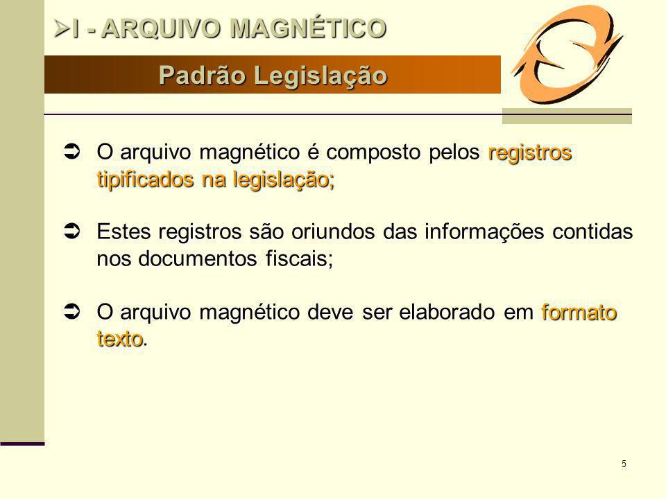 5 Padrão Legislação I - ARQUIVO MAGNÉTICO I - ARQUIVO MAGNÉTICO O arquivo magnético é composto pelos registros tipificados na legislação; O arquivo ma