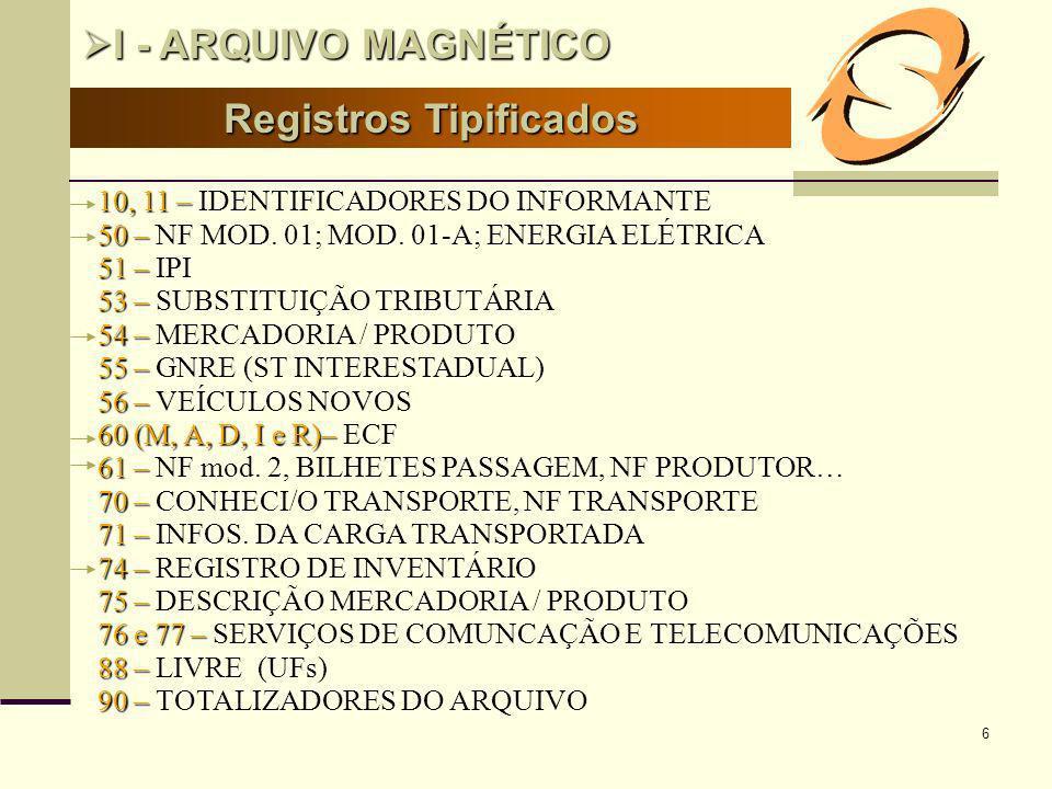 6 Registros Tipificados I - ARQUIVO MAGNÉTICO I - ARQUIVO MAGNÉTICO 10, 11 – 10, 11 – IDENTIFICADORES DO INFORMANTE 50– 50 – NF MOD. 01; MOD. 01-A; EN