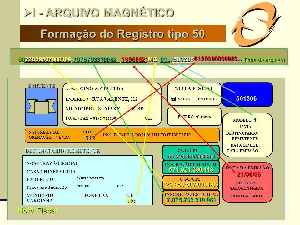 7 Formação do Registro tipo 50 I - ARQUIVO MAGNÉTICO I - ARQUIVO MAGNÉTICO 502385950700010919950621 501306 INSCRIÇÃO ESTADUAL 7.075.793.310.062 DATA D