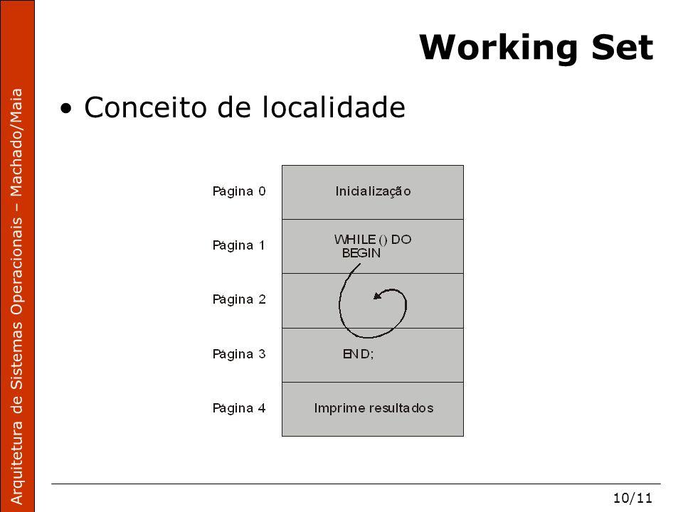 Arquitetura de Sistemas Operacionais – Machado/Maia 10/11 Working Set Conceito de localidade
