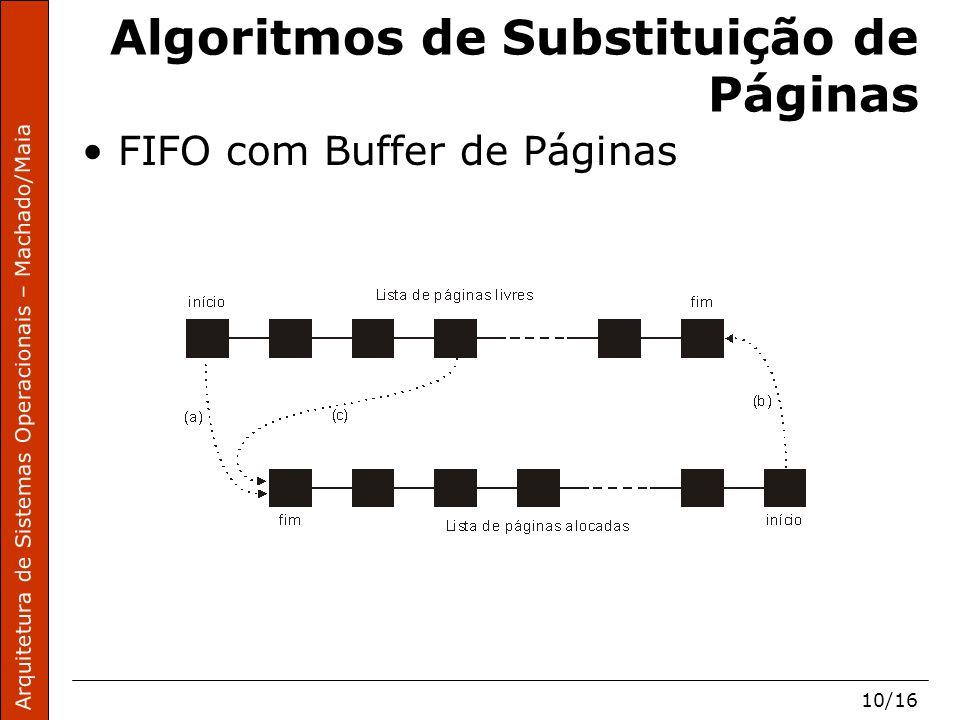 Arquitetura de Sistemas Operacionais – Machado/Maia 10/16 Algoritmos de Substituição de Páginas FIFO com Buffer de Páginas