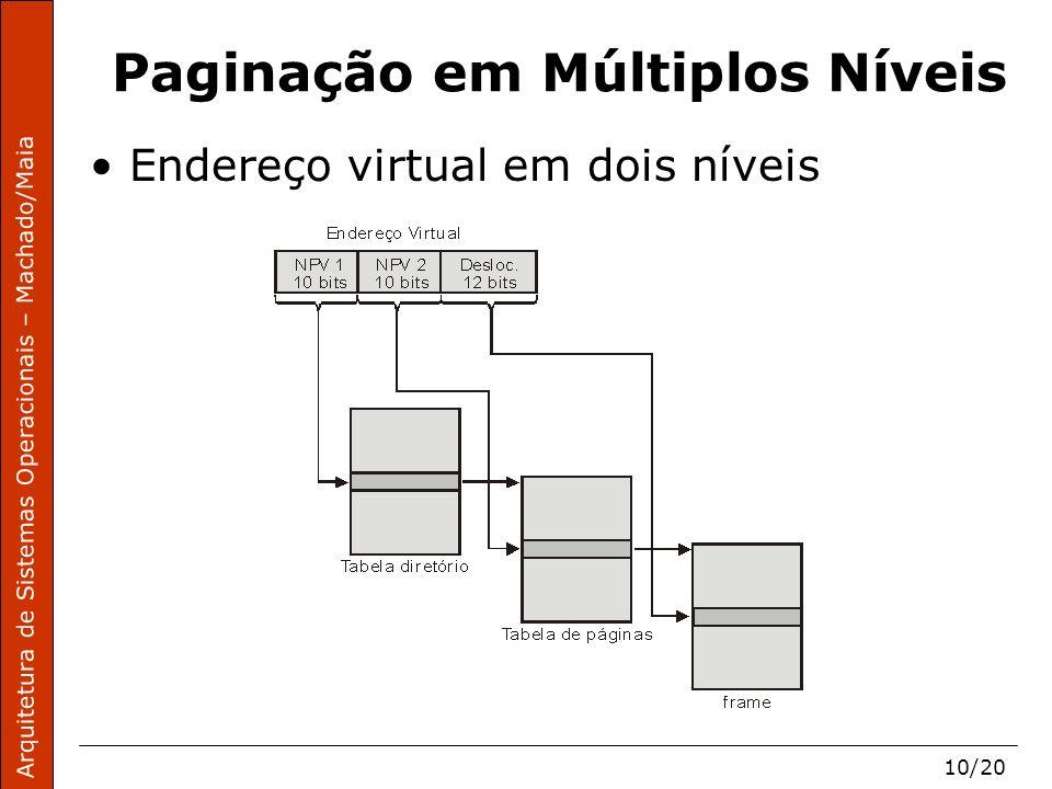 Arquitetura de Sistemas Operacionais – Machado/Maia 10/20 Paginação em Múltiplos Níveis Endereço virtual em dois níveis