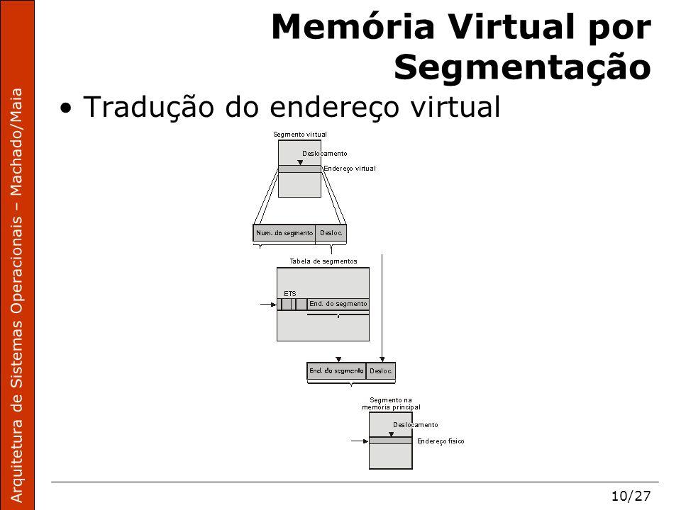 Arquitetura de Sistemas Operacionais – Machado/Maia 10/27 Memória Virtual por Segmentação Tradução do endereço virtual