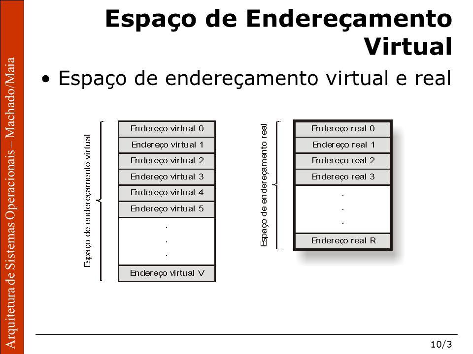 Arquitetura de Sistemas Operacionais – Machado/Maia 10/3 Arquitetura de Sistemas Operacionais – Machado/Maia Espaço de Endereçamento Virtual Espaço de endereçamento virtual e real