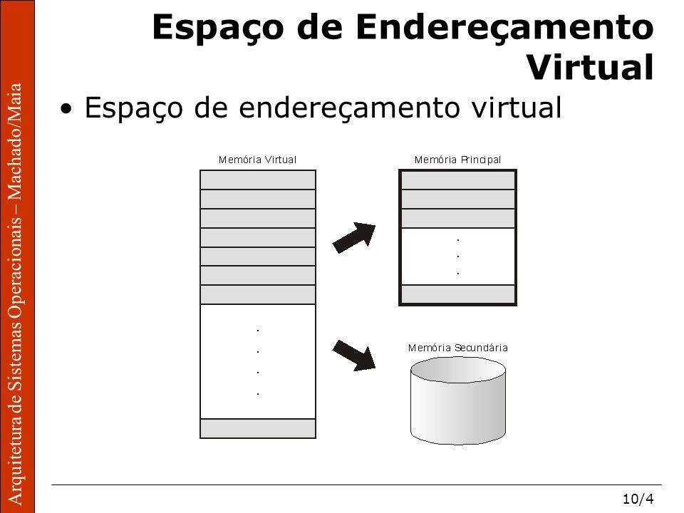 Arquitetura de Sistemas Operacionais – Machado/Maia 10/4 Arquitetura de Sistemas Operacionais – Machado/Maia Espaço de Endereçamento Virtual Espaço de endereçamento virtual