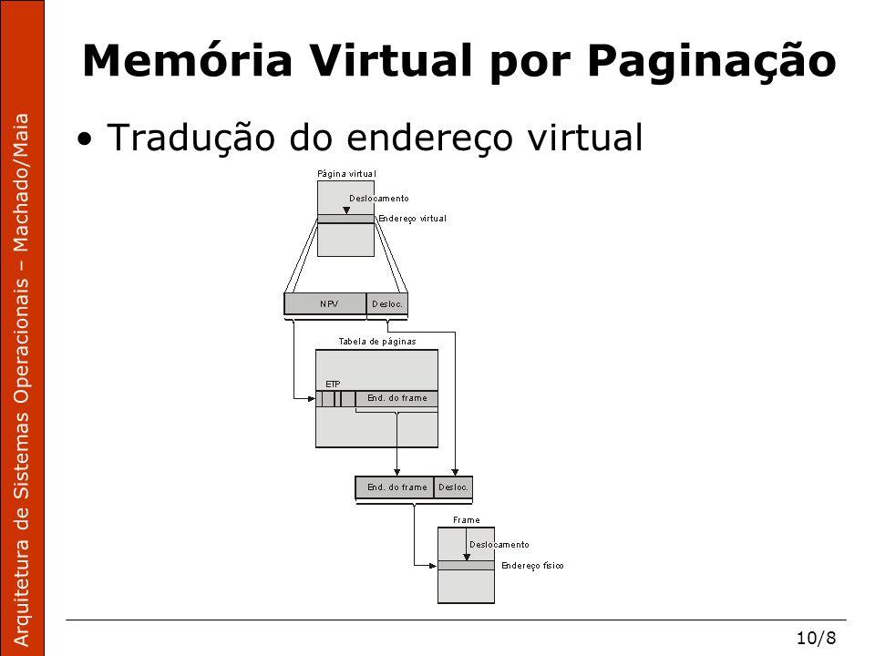 Arquitetura de Sistemas Operacionais – Machado/Maia 10/9 Memória Virtual por Paginação Mecanismo de tradução