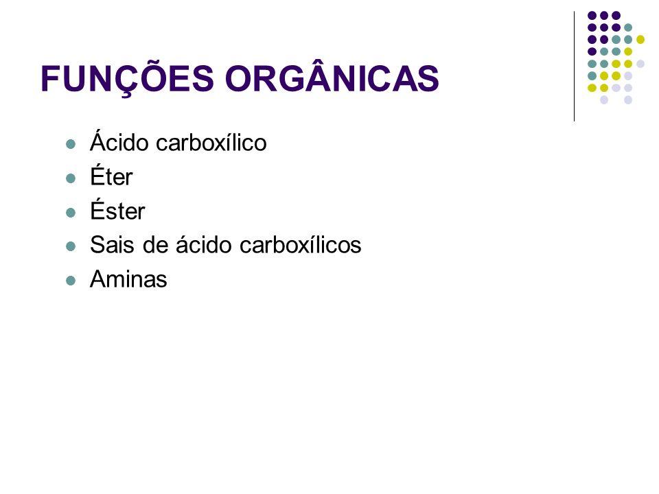 FUNÇÕES ORGÂNICAS Ácido carboxílico Éter Éster Sais de ácido carboxílicos Aminas